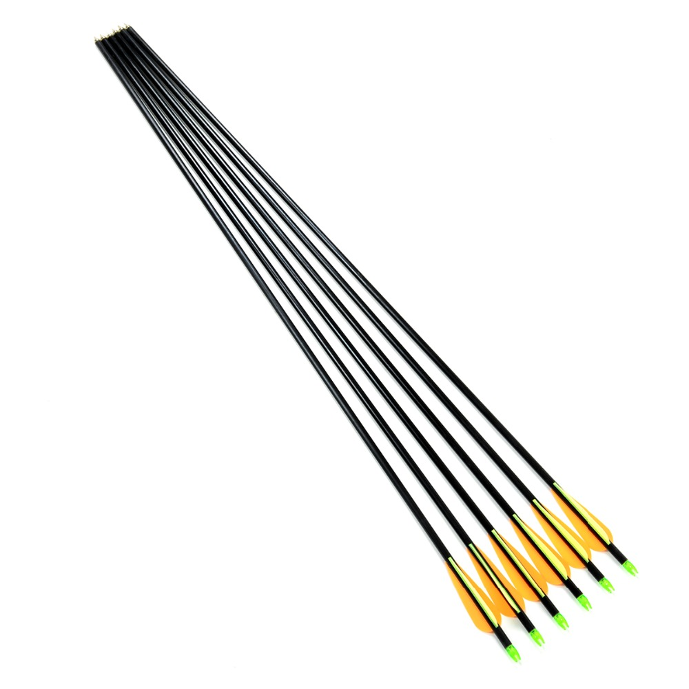 Free shipping 6pcs lot Fiberglass Arrow for Shoot Archery Bow Outdoor Sport with sliver tips arrowhead