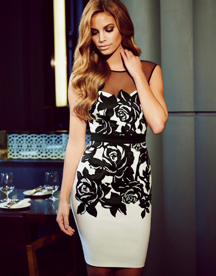 Sleeveless white and black backless slim pencil embroidery dresses