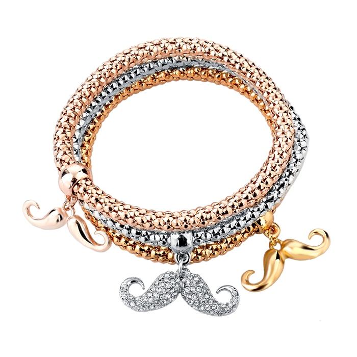 2015 Jewelry 3PCS Gold/Silver Plated Charm Bracelets & Bangles Elastic Multilayer Bracelet With Moustache Pendant SBR150191(China (Mainland))