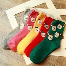 Christmas special socks for women Santa Claus cartoon image & 3D snow kawaii cute lovely girls socks 1 pair