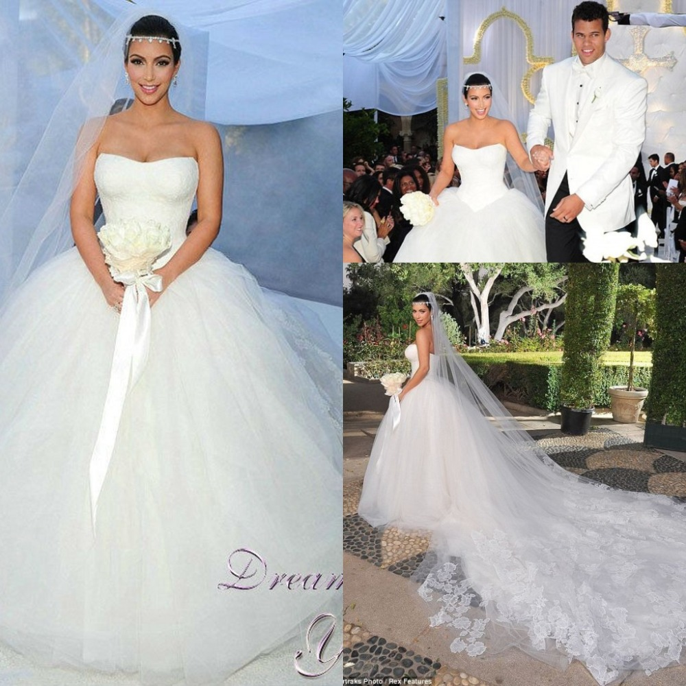 Aliexpress Buy Vintage Cathedral Train Kim Kardashian Wedding Dresses Vestido De Casamento