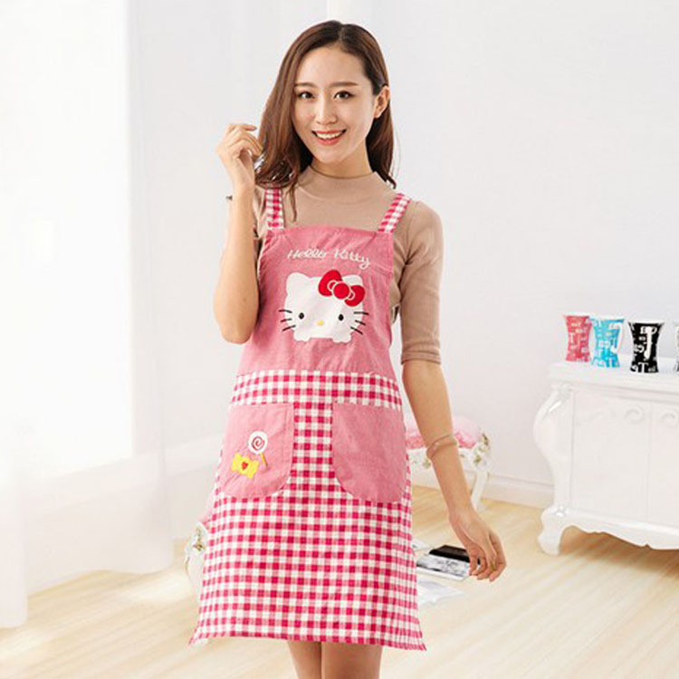 Lovely Cartoon Hello Kikty Pure Cotton Apron Kitchen Housework Waterproof Apron Cafe restaurant uniforms(China (Mainland))