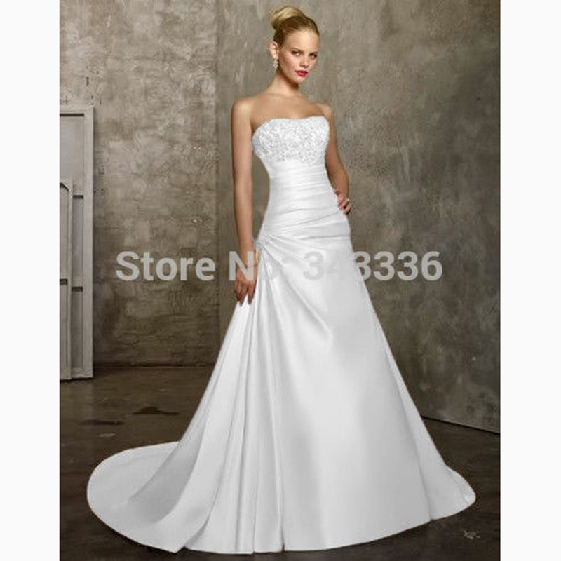 IW001 Cheap Plus Size Wedding Dress 2016 Beaded Strapless Bodice A Line Satin Real Photo In