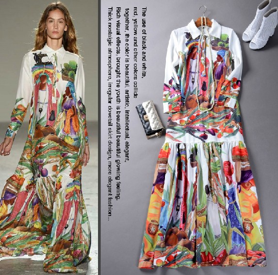 High Quality Newest Fashion Runway Maxi Dress Women's Long Sleeve Retro Art Printed Designer Long Dress