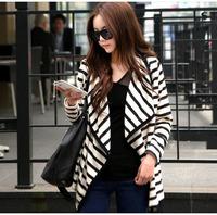 New Fashion Women Ladies Long Sleeve Striped Cotton Peplum Autumn Casual Top Cardigan Blouse Jacket Size S M L Free Shipping 521