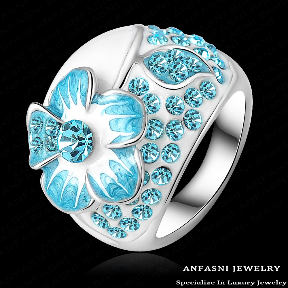 Lake Blue Enamel Genuine Austrian Crystal Rings Real Platinum Plated Flower Ring Costume Women Jewelry Ri