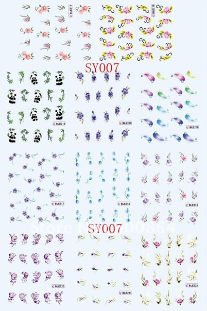 Sample Cheap 2D Nail Stickers 11different Styles each Piece Nail Seal Nail Art Disposable Tatoo Water Decoration for Nail Salon