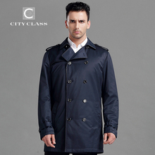 CITY CLASS 2015 New Spring Autumn Man Casual Jacket Fashion Slim Turn-Down Collar Long Cotton-Padded Trench Free Shipping 15047(China (Mainland))