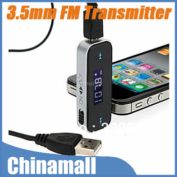 High Quality Wireless 3.5mm Audio Jack Car FM Transmitter For iPod iPhone 4S 5G Samsung Galaxy S2 S3 Free Shipping Drop Shipment