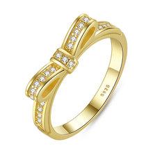 แท้ 925 เงินสเตอร์ลิง Bowknot แหวน Cubic Zircon แหวนผู้หญิง Bowknot ดูไบงานแต่งงานเจ้าสาวเครื่องประดับ WEU7104(China)