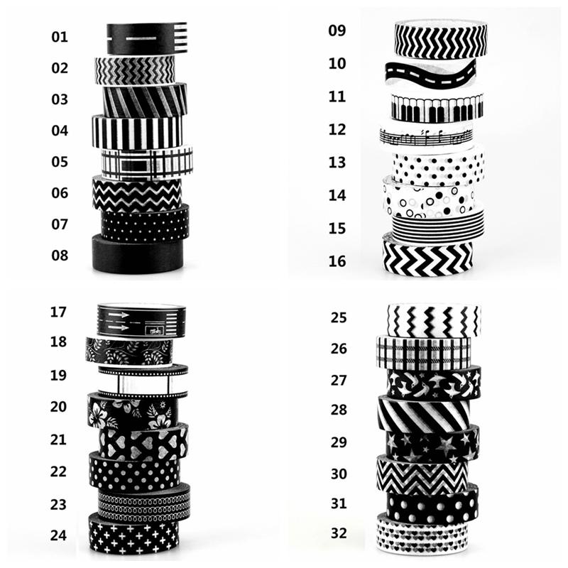 1X 15mm Tape Black White set Dot,Flower,Star Print Scrapbooking DIY Sticker Decorative Masking Japanese Washi Tape Paper Lot 10m(China (Mainland))