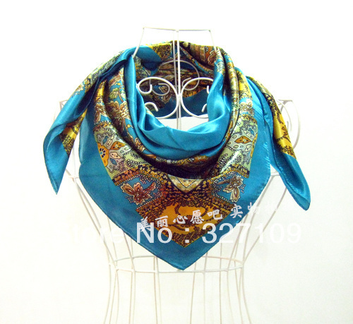 Mix Wholesale Rayon Blue Satins Large size Square Scarf 90cm  Summer Autumn Winter Shawl  Oil Printed Flower Women's Accessories
