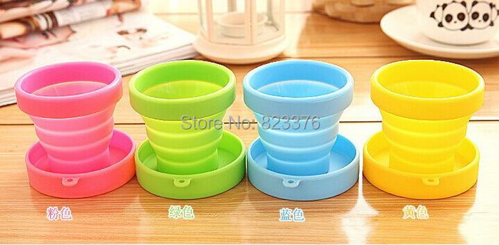 Free Shipping+Wholesale novelty items travel folding retractable silicone gel portable cup,100pcs/lot(China (Mainland))