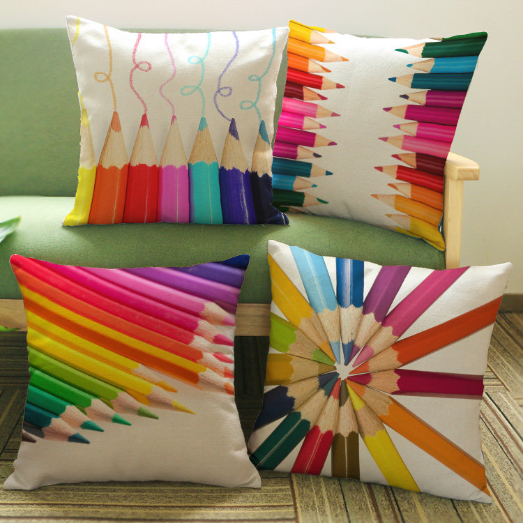 Europe and the United States Colorful pen picture print 45x45cm linen pillow cover hotel clubs office decorated pillow cover(China (Mainland))