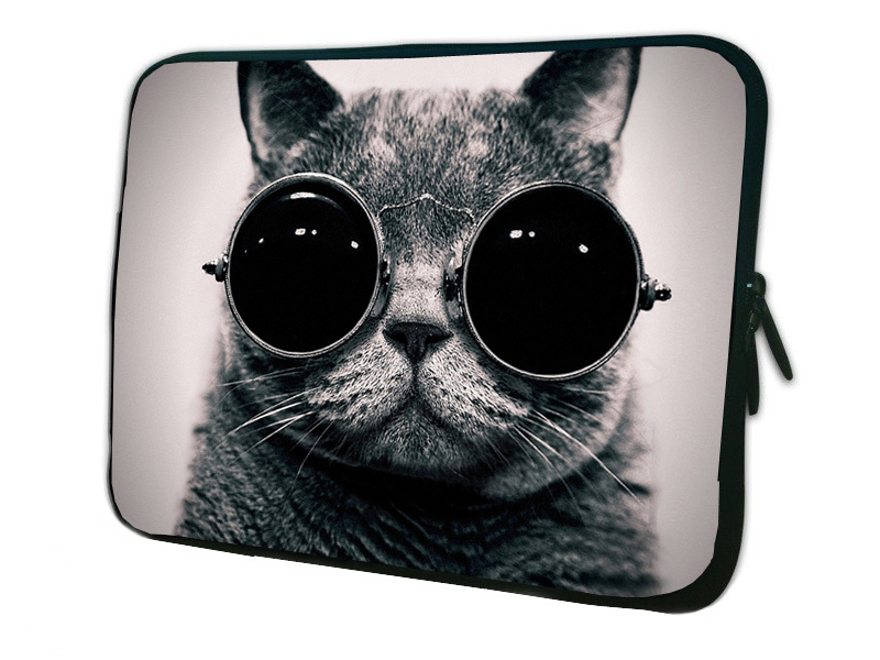 funny cat with sunglasses sleeve case to tablet soft neoprene protector briefcase for ipad mini 2 case to 7 7.7 8 8.1 inch ebook(China (Mainland))