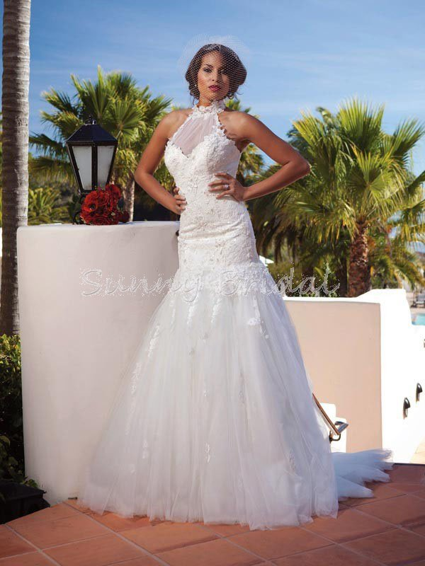 Free shipping strapless white lace wedding dress with for Choker neck wedding dress