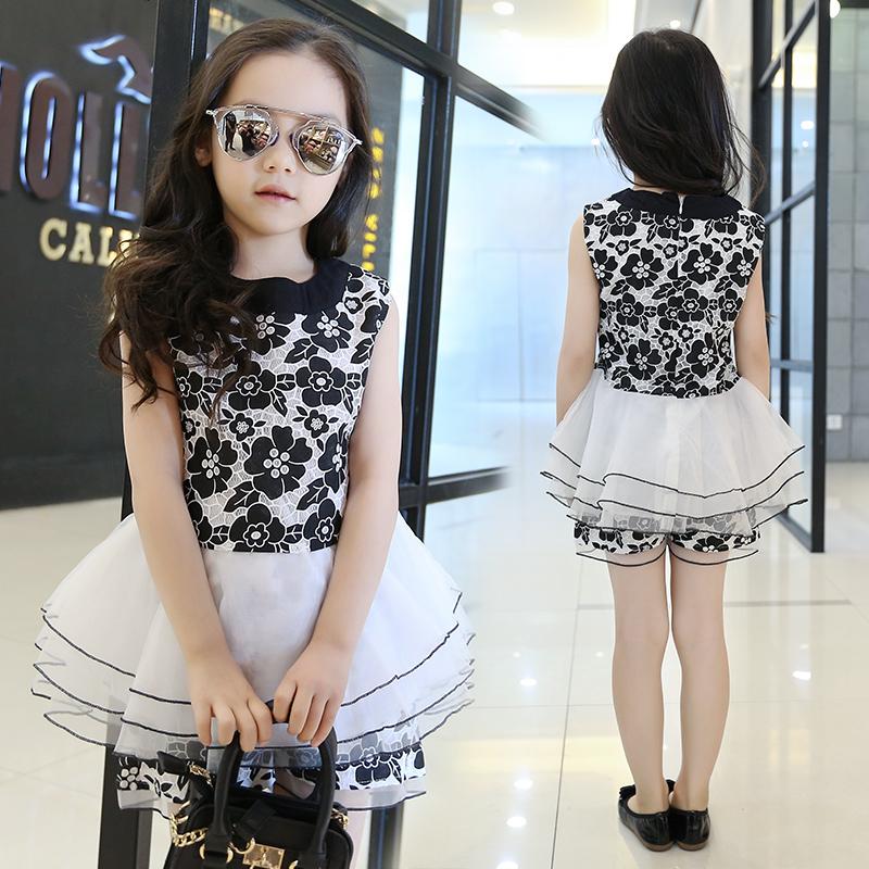 Girls Costume Cotton Children Clothing 2016 Summer Elegant Teenage Girls Clothing Sets Floral Tops + Shorts 2pcs Kids Clothes(China (Mainland))