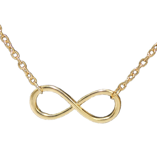 2016 New Hot Metal Alloy Infinity Sign Pendant Necklace Chain Gold Silver Black Love Statement Necklace bijoux femme N302