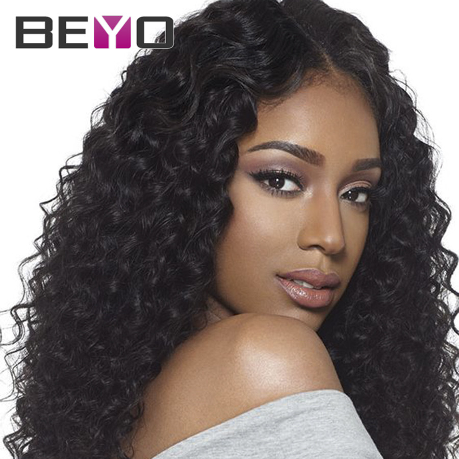 Glueless Lace Front Human Hair Wigs Malaysian Hair Full Lace Wigs Malaysian Virgin Hair Lace Wig Deep Wave Curly Lace Front Wig(China (Mainland))