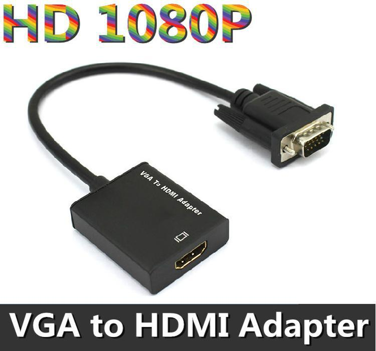 DHL Ship 30pcs/Lot Full HD 1080P VGA to HDMI Adapter Cable with Audio VGA to HDMI Converter w/ USB Power Cable Black High Speed(China (Mainland))