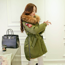 High Quality Winter Thick Large Raccoon Fur Collar Women Down Coat Women's Medium-long White Duck Down Ladies Jacket Army Green