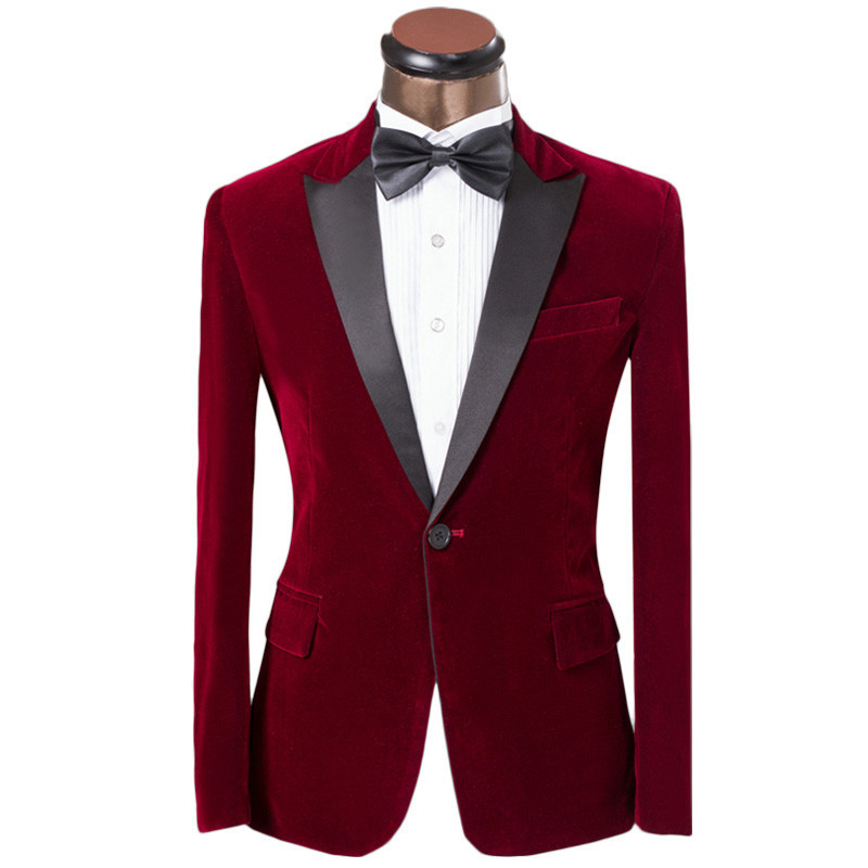 One Button Dark Red Velvet Groom Tuxedos Groomsmen Men's Wedding Prom Suits Custom Made (Jacket+Pants+Girdle+Tie) K:231