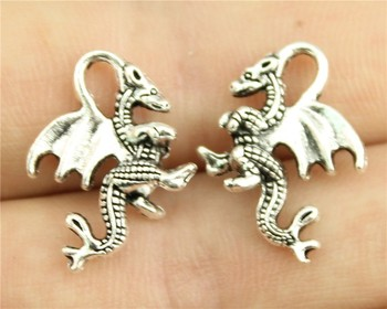 WYSIWYG 10pcs 20*15mm antique silver tone dragon charms