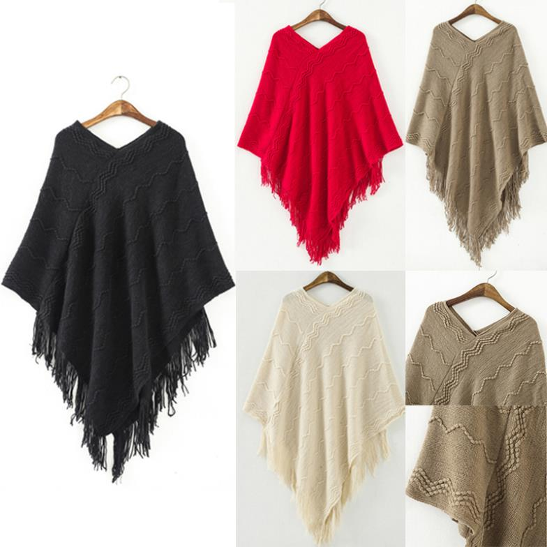 2015 winter fashion V-neck Top Women's Poncho Batwing Cape tassel knitted shawl cloak loose Waves Knitwear loose Sweater(China (Mainland))