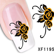 1Pcs Nail Art Water Sticker Nails Beauty Wraps Foil Polish Decals Temporary Tattoos Watermark + Free Shipping (XF1195)
