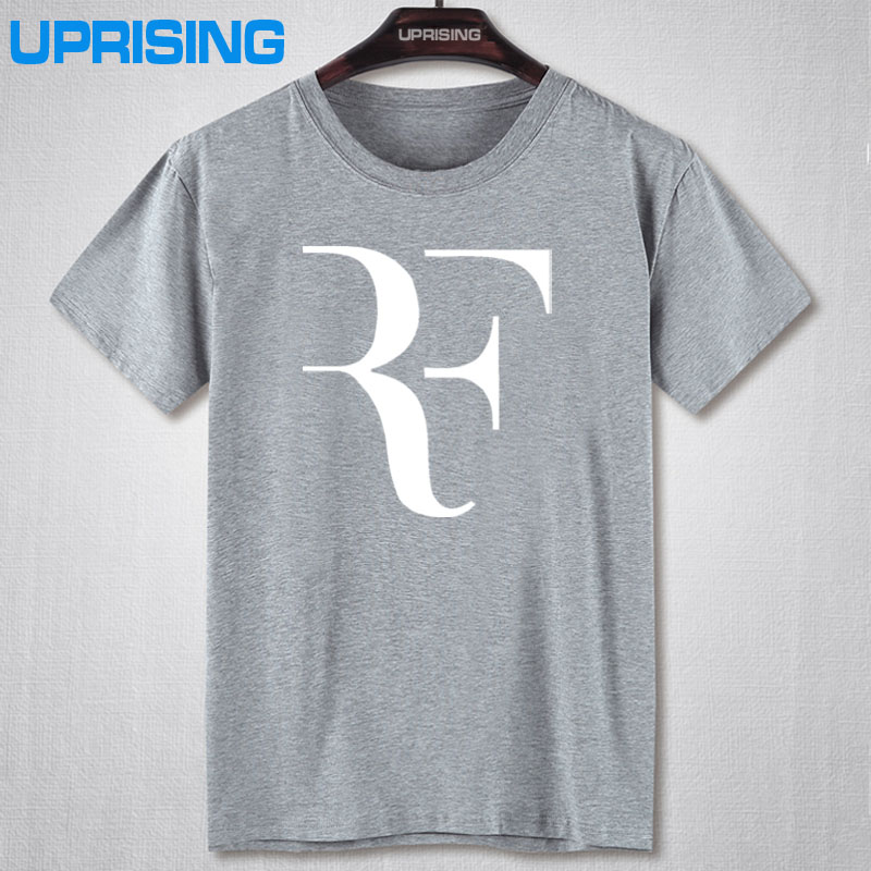 Fashion New Roger Federer RF Tennis T Shirts Men Casual Round collar Short Sleeve Cotton Mens Shirt Man Clothing Plus Size(China (Mainland))