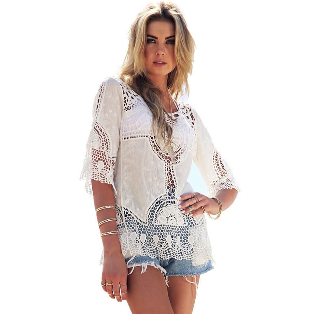 Women Shirts Fashion Shirts Ladies Lace Crochet Beach Cover Ups Blouse Beach Top Shirts Free Shipping(China (Mainland))
