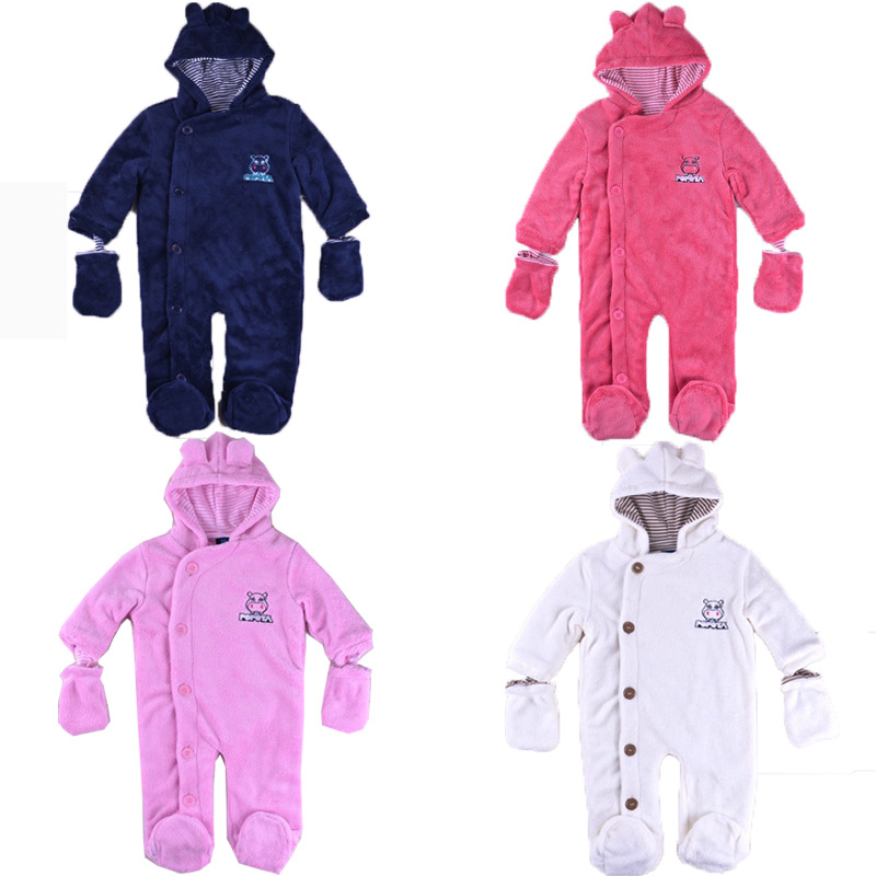 NEW baby boy girl clothing autumn winter newborn baby romper cotton soft fleece infant hooded gloves jumpsuit romper outwear(China (Mainland))