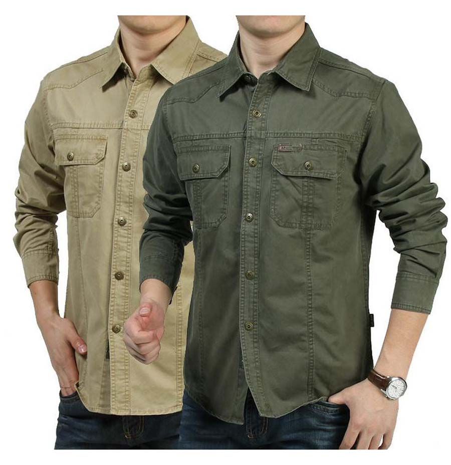 Military style men 39 s shirt loose leisure cotton pure color for Mens khaki shirt outfit