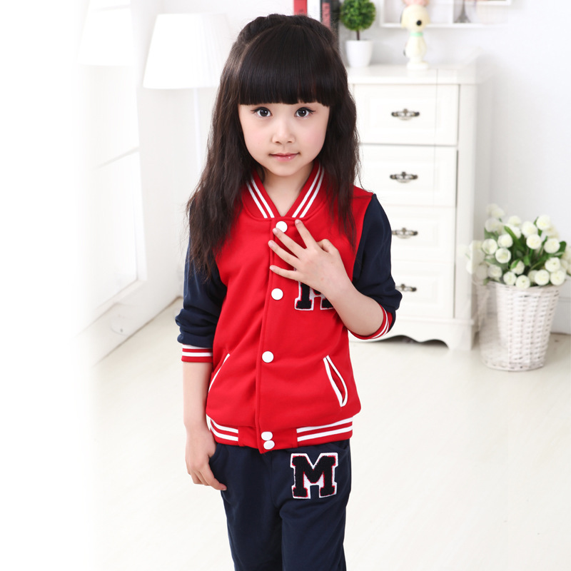 new2015 autumn casual letter baseball jacket+pants 2pcs children's girls sports suit tenis masculino for 3~12age teenagers sets(China (Mainland))