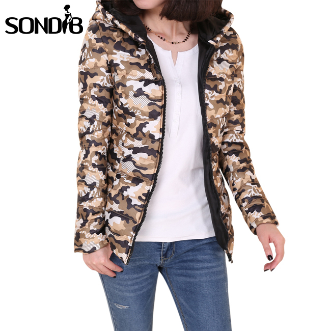 2015 new arrival snow wear camo print warm down coat parkas slim Hooded winter jacket women padded tops Plus Size XL XXL(China (Mainland))