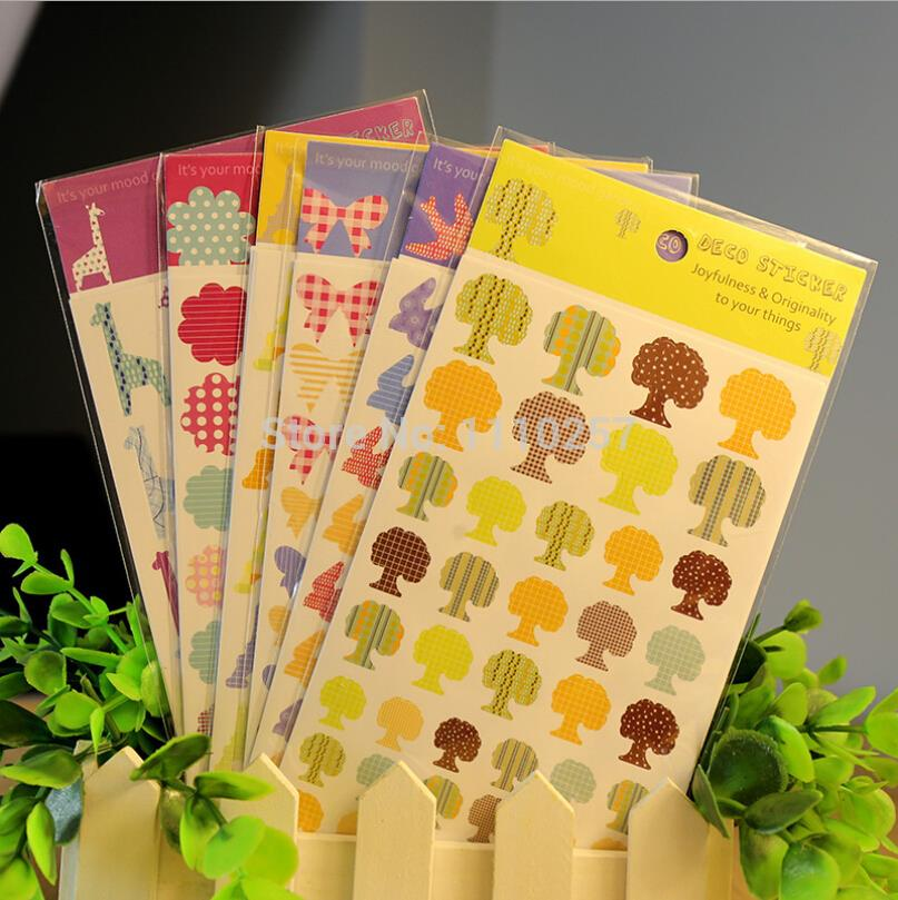72 sheets of colorful bowknots/flowers/eiffel tower/giraffe/tree/swallow cute stickers scrapbooking embellishment -12 designs(China (Mainland))