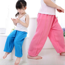6M-12 Years Soft And Breathable Girls Boys Silk Cotton Bloomers Baby Kids Harem Pants Children Trousers Colorful(China (Mainland))