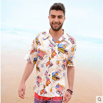 Mens Short Sleeve Hawaiian Beach Shirt Man Casual Cotton Printing Europe/America Plus Size S/2Xl Shirt Male Summer Tops J60