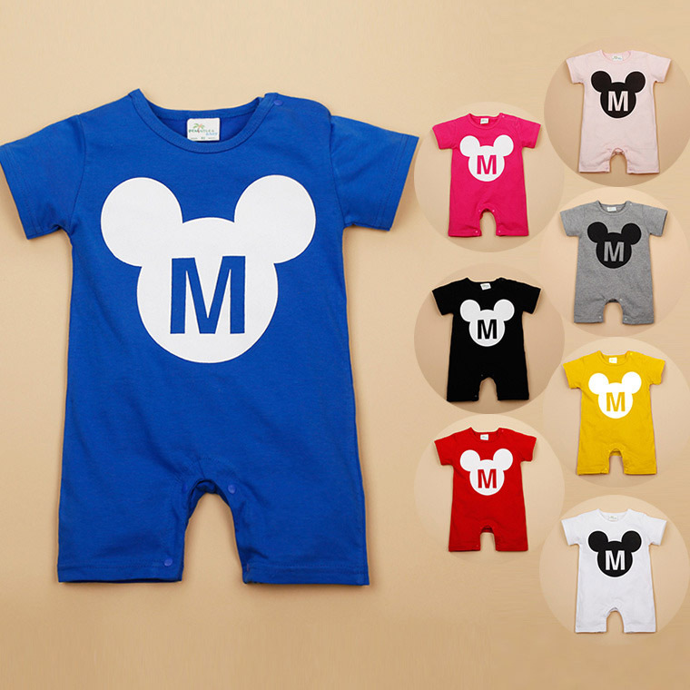 2015 New Baby Rompers Fashion Mickey M Letter Short Sleeve Baby Boy Romper Cotton Baby Girl Romper Jumpsuit Summer Clothes 1925(China (Mainland))