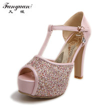 2016 Factory Discount Buckle Strap Sexy Peep Toe Summer Pumps Girls High Heel Glitter Shoes Women Party Sandles Big Size(China (Mainland))