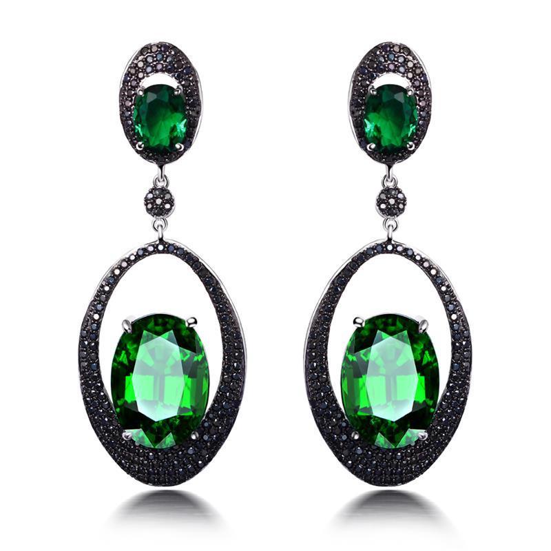 Long Dangling Earrings Emerald Double oval-shaped Crystal Drop Earrings for Women Platinum Plated Vintage Wedding Jewlery <br><br>Aliexpress