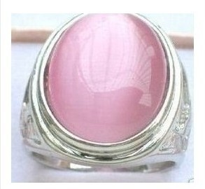 Beautiful Tibet Silver Pink Jade Ring Size 7,8,9,10,11# / Free Shiping(China (Mainland))
