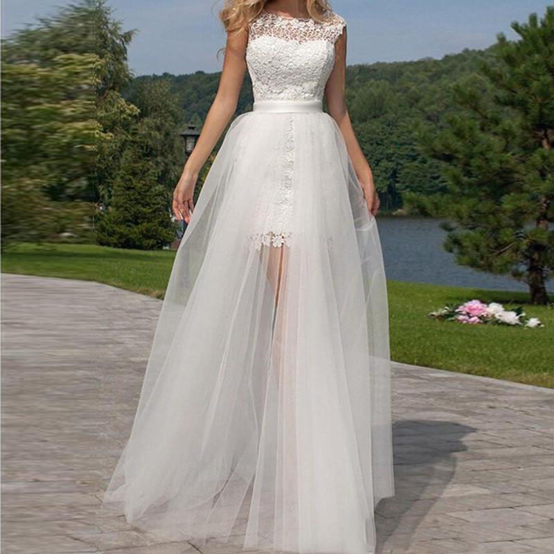 High Low Backless Lace Wedding Dress with Detachable Train 2017 Removable Skirt Short Cap Sleeve Bridal Gowns Custom Made Garden Sheer