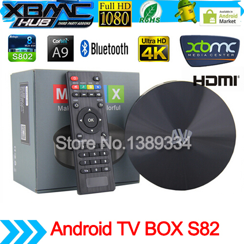 S82 M8 Amlogic s802 2GB/8GB Quad Core CPU 2GHz Android TV Box Mali450 GPU 4K Android 4.4 KitKat Support OTA HDMI Bluetooth 4.0(China (Mainland))