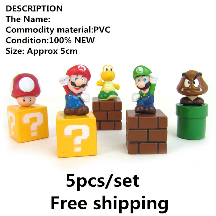 Гаджет  Super Mario Bros Mini Figures Bundle Blocks Mario Goomba Luigi Koopa Troopa Mushroom PVC Toys SMFG035 None Игрушки и Хобби