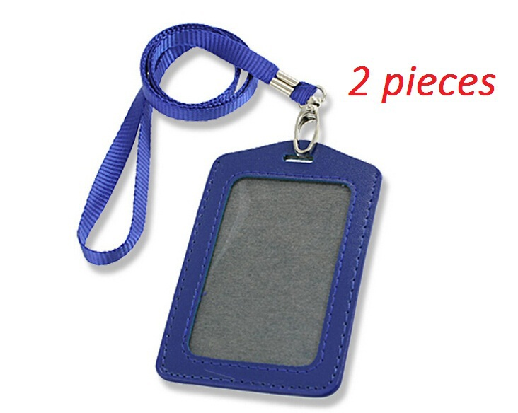 2 pcs Blue Faux Leather Badge ID Card Vertical Holders Neck Strap Free Shipping(China (Mainland))