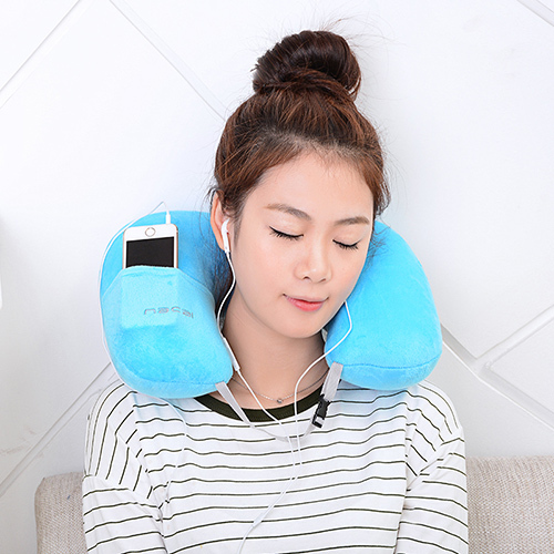 CYP090 U-Shape Inflatable pillow Portable Flannel travel neck pillow Home Garden Textile Item Stuff Accessories Supplies Product(China (Mainland))