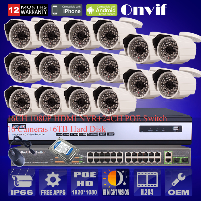 P2P1080P HD POE CCTV Camera 16CH NVR&24CH Switch Home Video Surveillance Kit 48Infrared Security Camera System With 6TB HDD(China (Mainland))