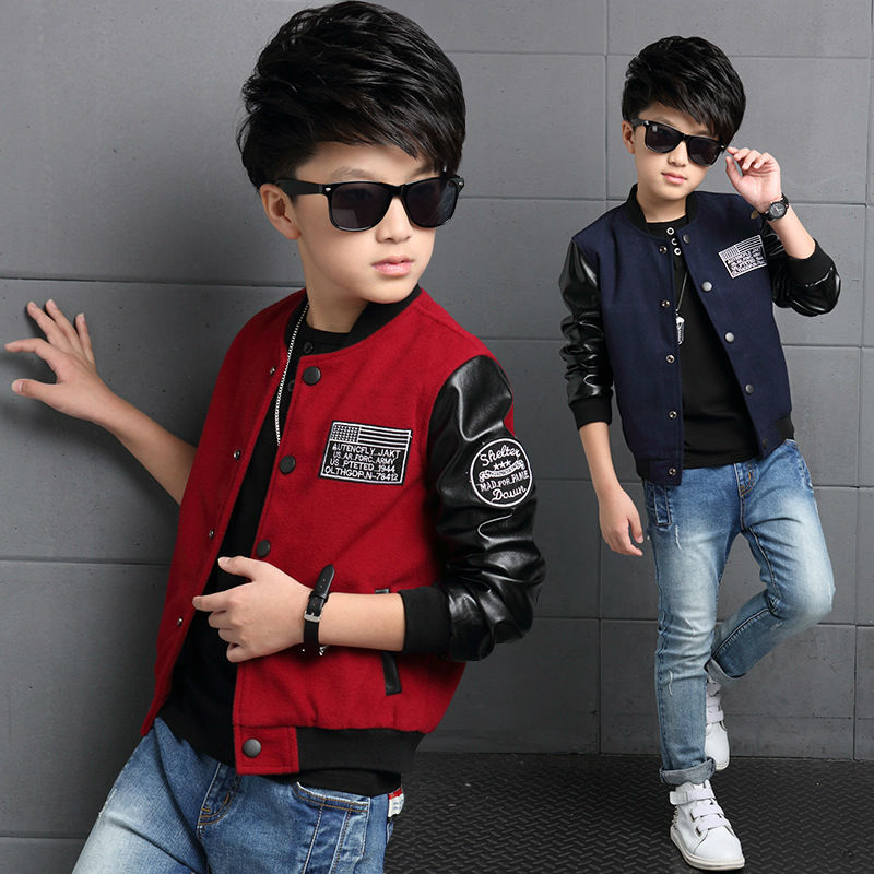 Boys Coat Polyester Faux Leather Casual Children Hoodies Brand Spring Teenage Boys Jackets Patchwork Letter Kid Clothes For Boys(China (Mainland))