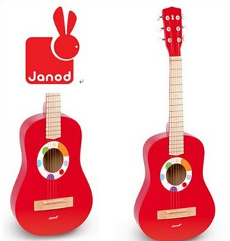 6 Steel wire Red Mini wooden guitar kid acustic Musical Toy Children Early educational instrument Baby Toy brinquedos educativos(China (Mainland))